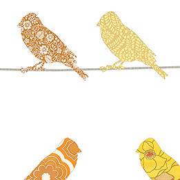 Inke Heiland Muurprint Vogels Geel - Wallprint Birds Yellow - Wandbild Vogel Gelb