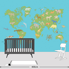 Inke Heiland Muurprint Wereldkaart Groen - Wallprint World Map Green - Wandbild Weltkarte Grun
