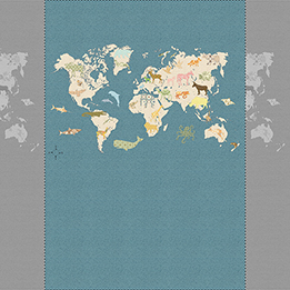 Inke Heiland Muurprint Wereldkaart - Wallprint World Map - Wandbild Weltkarte