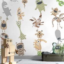 Inke Heiland Muurprint Monsterstapel - Wallprint Stack 'o Monsters - Wandbild Monsterstapel